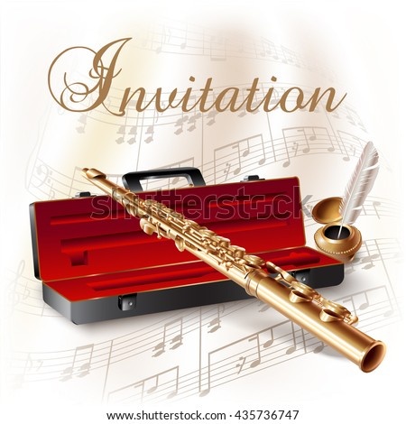 Musical background series. Classical flute, isolated on white background with musical notes and the 'Invitation' wording. Vector illustration - stock vector