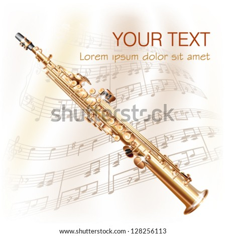 Musical background series. Classical soprano sax, isolated on white background with musical notes - stock vector
