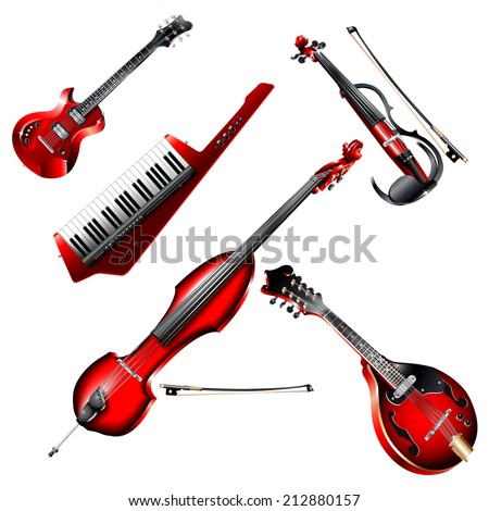 Musical background series. Set of electric instruments, isolated on white background. Vector illustration - stock vector