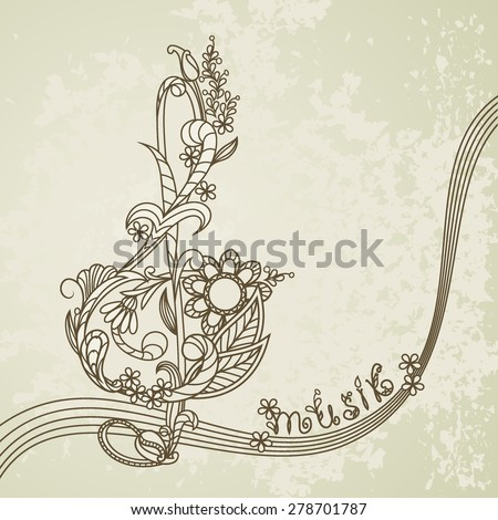 Musical background with a treble clef and a flower pattern - stock vector