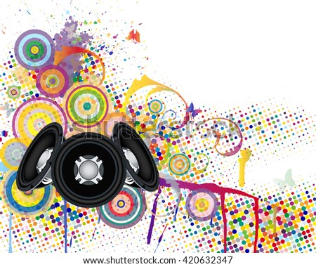 Musical background with colorful grunge element. Vector illustration.  - stock vector