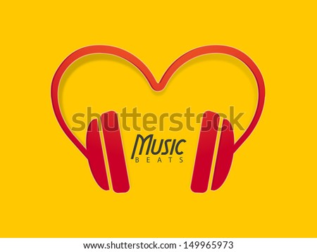 Musical background with headphone, can be use as banner, flyer, poster or background.  - stock vector