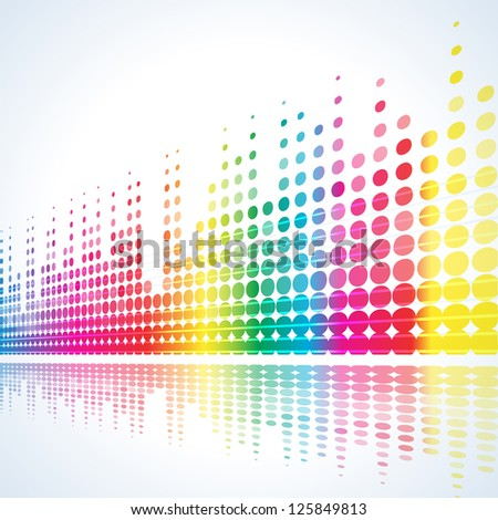 musical background with multicolored lines on white - stock vector
