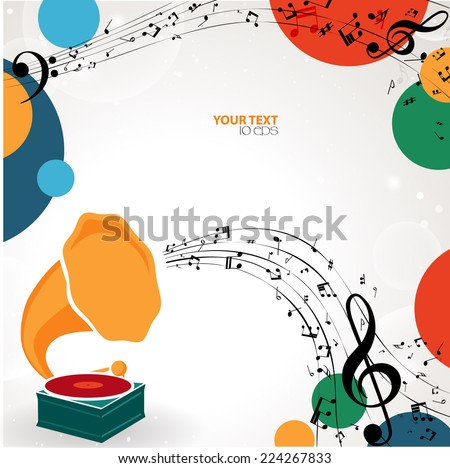 musical background with phonograph - stock vector