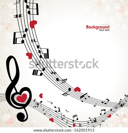 musical background with treble clef in the shape of heart - stock vector