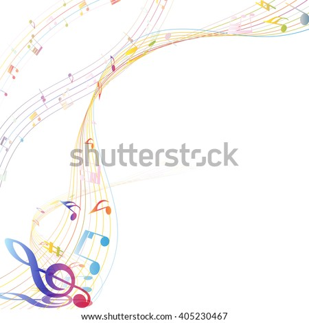 Musical Design Elements From Music Staff With Treble Clef And Notes. Elegant Creative Design With Shadows. - stock vector