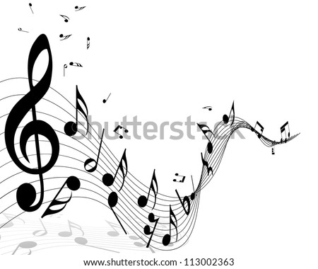 Musical Design Elements From Music Staff With Treble Clef And Notes in Black and White.  Vector Illustration.  - stock vector