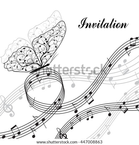 Musical design elements with treble clef, notes and butterfly in black and white style. Vector Illustration isolated on white background. - stock vector