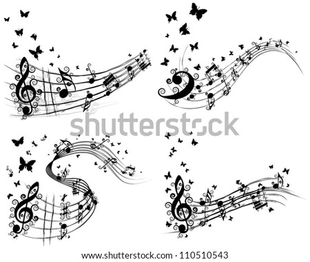 Musical Designs Sets With Elements From Music Staff , Treble Clef< Swirls, Butterflies  And Notes in Black and White Colors. Elegant Creative Design With Shadows Isolated on White. Vector Illustration - stock vector
