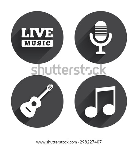 Musical elements icons. Microphone and Live music symbols. Music note and acoustic guitar signs. Circles buttons with long flat shadow. Vector - stock vector