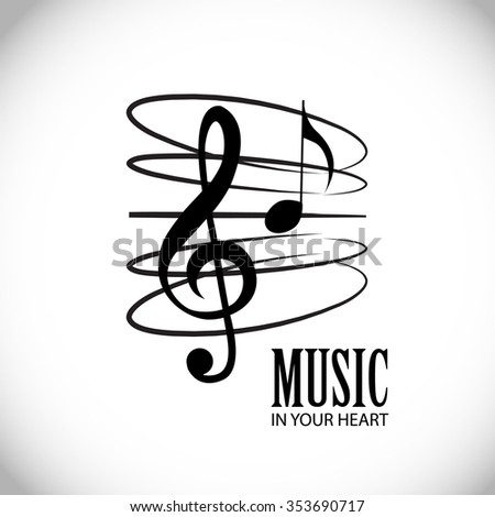 Musical Elements. Music Staff with Treble Clef & Notes Isolated on White. Vector Illustration. - stock vector