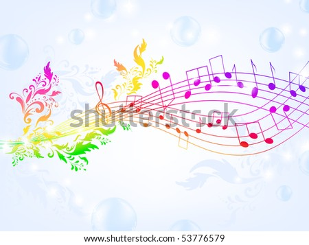 musical fantasy theme with bright rainbow notes and air bubble background, EPS10 - stock vector