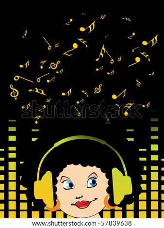 musical graph background with musical notes and boy listening music - stock vector