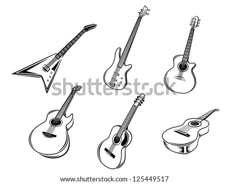 Musical guitars instruments isolated on white background, such as idea of logo. Jpeg version also available in gallery - stock vector