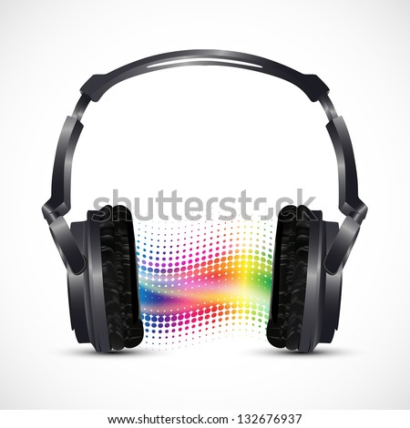 musical headphones with equalizer - stock vector