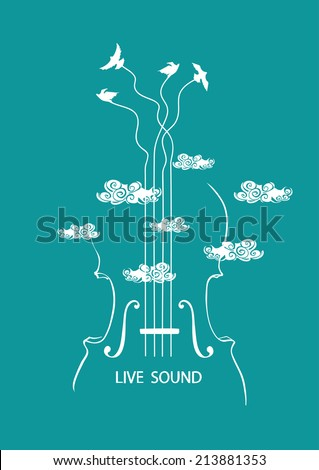 Musical illustration with concept cello and birds in the sky - stock vector