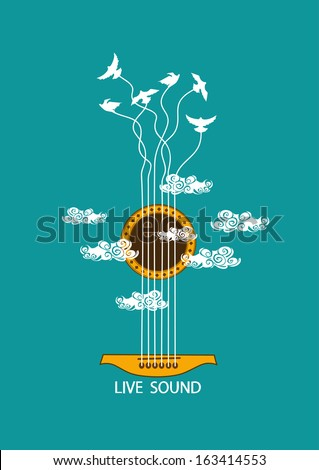 Musical illustration with concept guitar and birds in the sky - stock vector