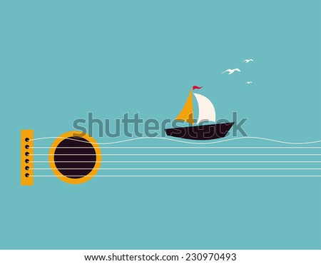 Musical illustration with concept guitar, boat and birds in the sky  - stock vector