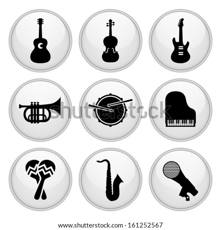Musical Instrument Icons Glossy White Button Icon Set - stock vector