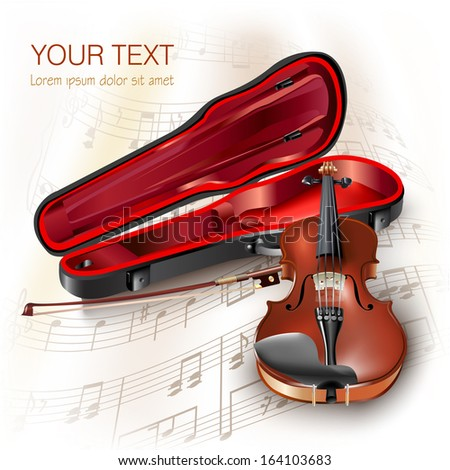 Musical instrument series. Classical violin, isolated on white background with musical notes. Vector illustration - stock vector