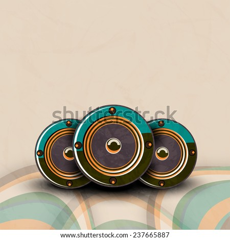 Musical instrument speakers on stylish background. - stock vector