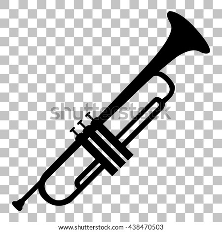 Musical instrument Trumpet sign. Flat style black icon on transparent background. - stock vector