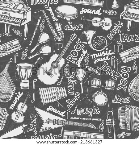Musical instruments and music elements chalkboard seamless pattern vector illustration - stock vector