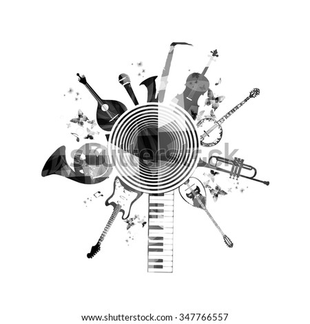 Musical instruments background - stock vector