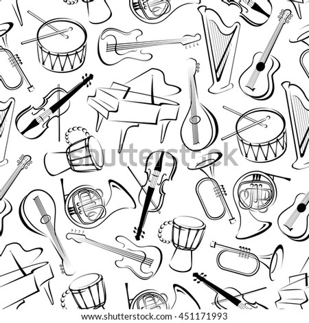 Musical instruments background for musical event theme design with black and white seamless pattern of grand pianos, drums and guitars, trumpets, horns and violins, harps and mandolins - stock vector