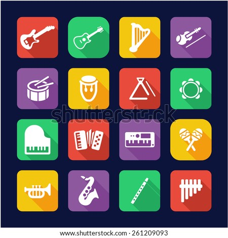 Musical Instruments Icons Flat Design - stock vector