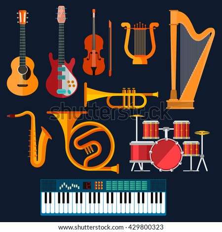Musical instruments icons of drum set, acoustic and electric guitars, violin, synthesizer, saxophone, trumpet, harp, ancient lyre and horn. Art, culture, musical entertainment concept - stock vector