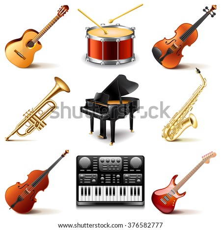 Musical instruments icons photo realistic vector set - stock vector