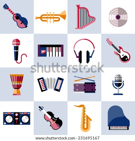 Musical instruments icons set with guitar trumpet harp vinyl isolated vector illustration. - stock vector