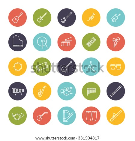 Musical Instruments Line Icon Set. Collection of 25 musical instruments line icons in colored circles - stock vector