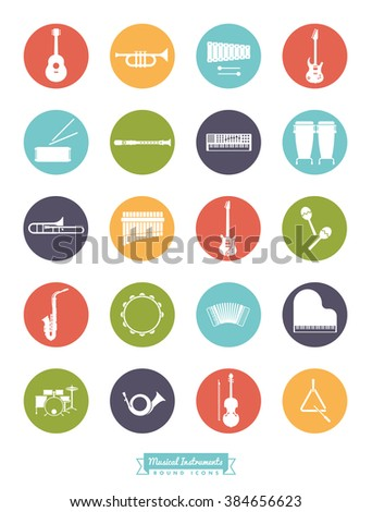 Musical Instruments Round Vector Icon Set. Collection Of 20 Music related Symbols, negative in colored circles - stock vector
