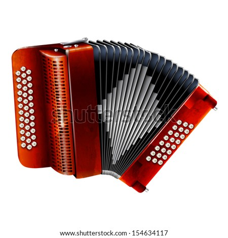 Musical instruments series. Classical bayan (accordion), isolated on white background - stock vector