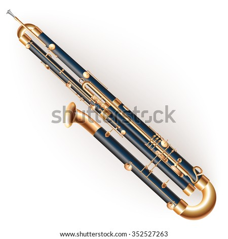 Musical instruments series. Classical contrabassoon, isolated on white background - stock vector