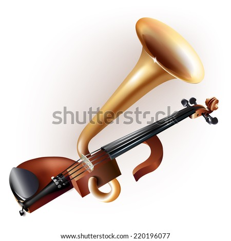 Musical instruments series. Classical horn-violin (violinophone, Stroh violin, Stroviols), isolated on white background - stock vector