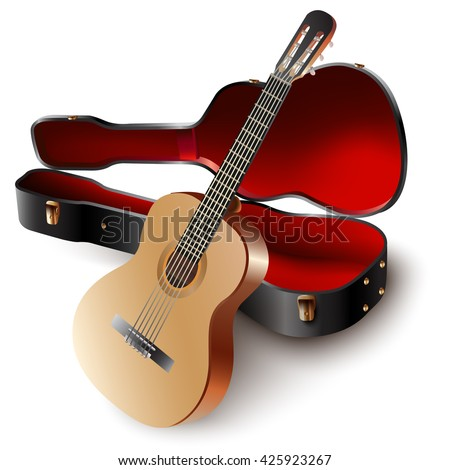 Musical instruments series. Classical Spanish guitar, isolated on white background - stock vector