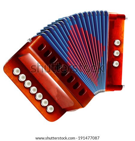 Musical instruments series. Traditional harmonica, isolated on white background  - stock vector