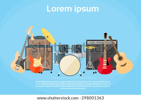 Musical Instruments Set Guitar Drums Rock Band Flat Vector Illustration - stock vector