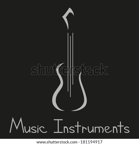Musical instruments store logo with guitar. Vector illustration, hand-drawing text - stock vector
