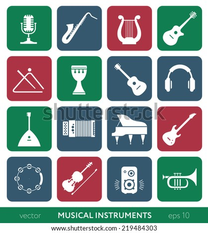 Musical instruments - vector colored icons set on white background - stock vector