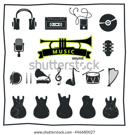 musical instruments, vector illustrations flat icons and elements set. - stock vector