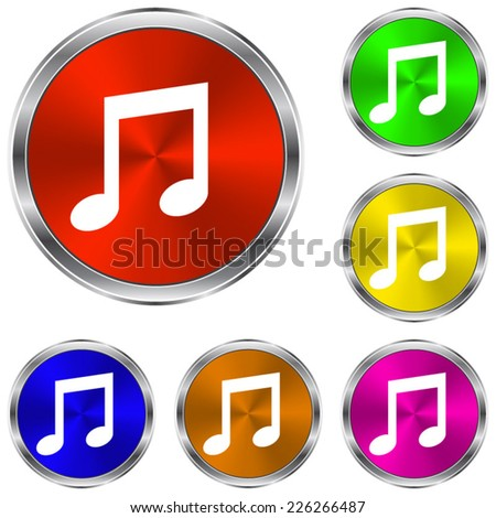 Musical note icon - vector glossy colourful buttons - stock vector