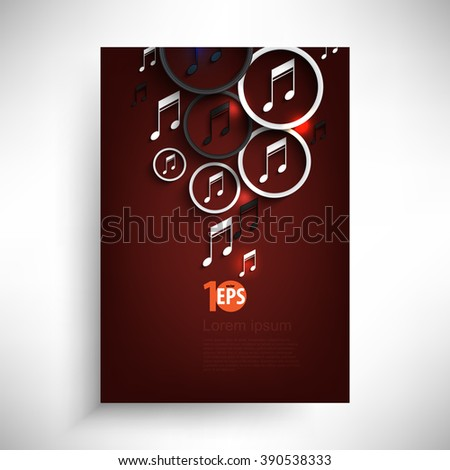musical note inside a ring party concept background, eps10 vector - stock vector