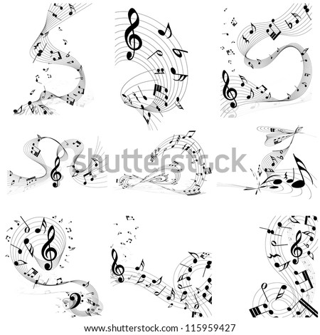 Musical note staff set. Nine images. Vector illustration. - stock vector