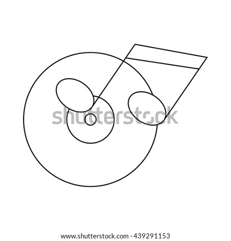 Musical notes and cd disk icon, outline style - stock vector