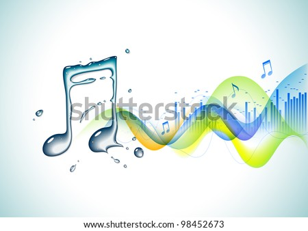 Musical notes and waves - abstract background - stock vector