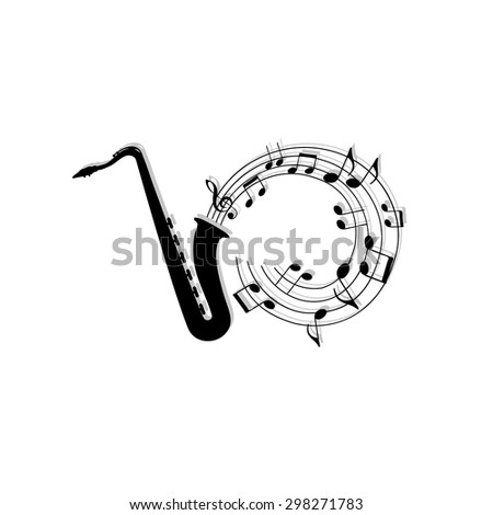 musical notes background with saxophone. - stock vector